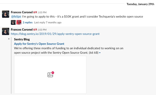 Frances Coronel letting the Techqueria slack channel know that she was applying for Sentry's Open Source Grant.