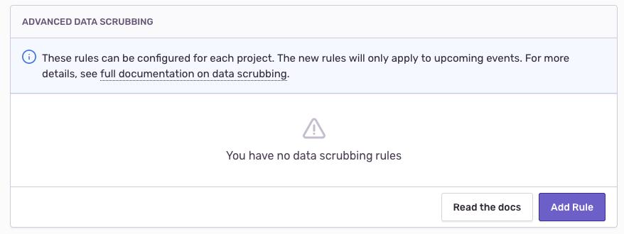 advanced data scrubbing empty state