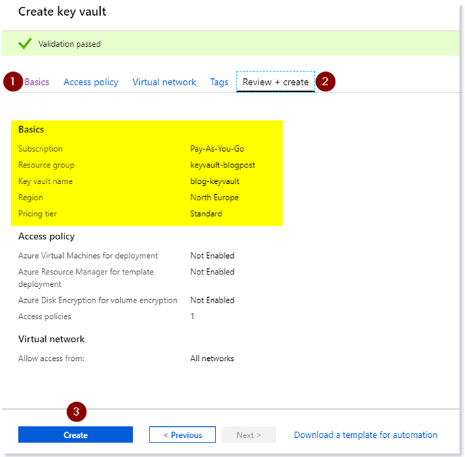 Steps in the Azure portal to create your Key Vault