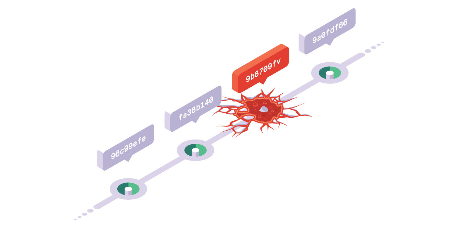 An image of a release graph displayed as floating platforms. One of the releases is crumbling, being engulphed by lava.