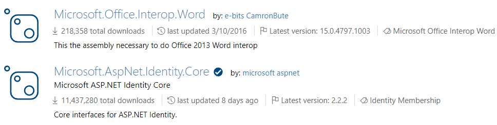 Old and new NuGet packages