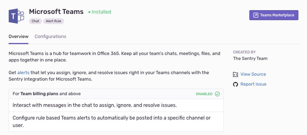 teams integration listing