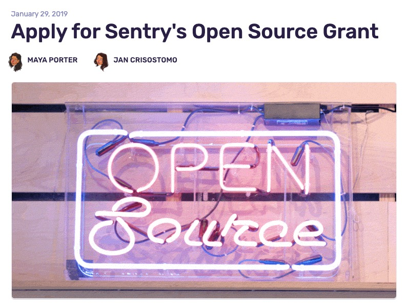 Sentry's Open Source Grant application and announcement blog post