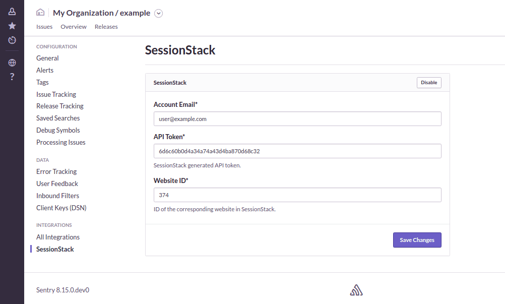 Configure the SessionStack plugin for Sentry