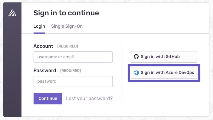 Sign on with Azure DevOps
