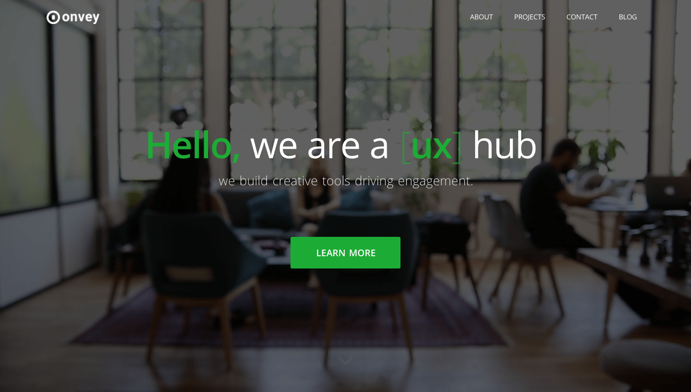 Homepage screen for lab.onvey.io