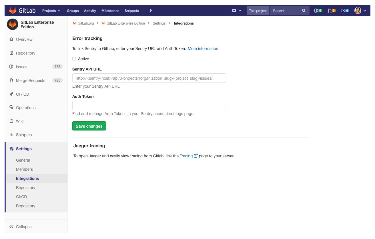 GitLab Sentry integration setup