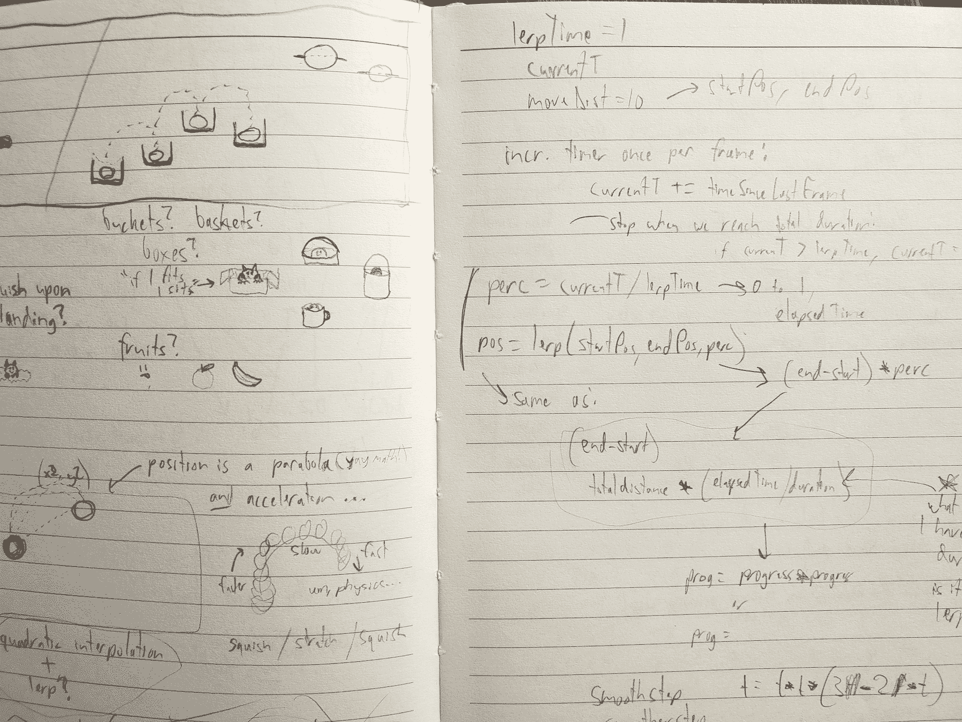 Liz Krane makes sketches on paper to work out Elm Pro Js problems before coding in Vim.