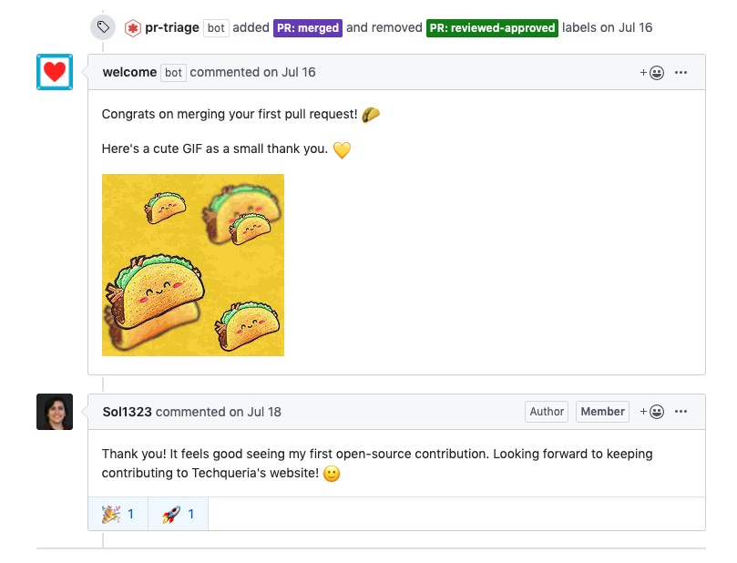 GitHub bot that shows a taco gif when your first commit is made to the Techqueria repo.
