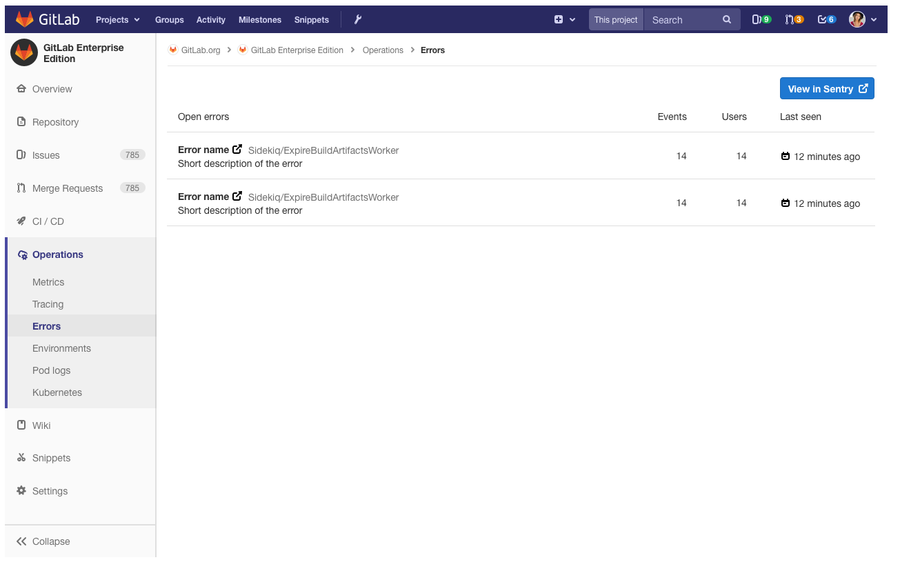Sentry GitLab Integration