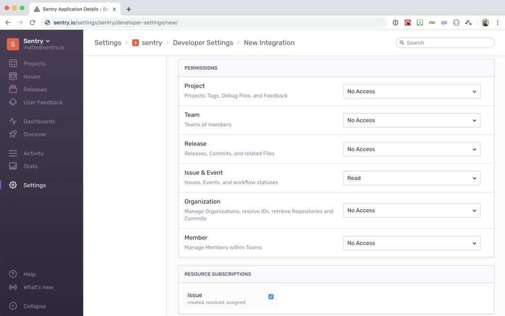 API and webhooks settings.