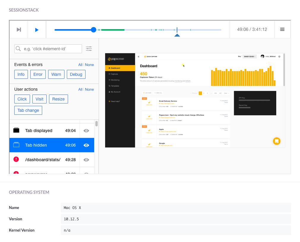 Screen capture of SessionStack user interface