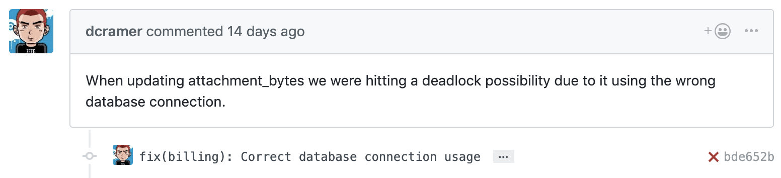 Sentry Fix Commit Comment
