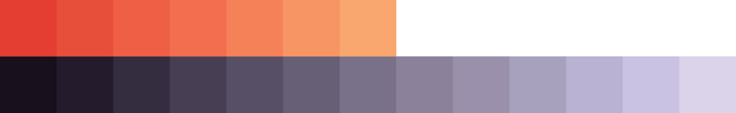 Image of orange and purple color swatches. The swatches go from dark on the left to light on the right.