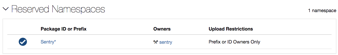 Sentry's Reserved Package ID