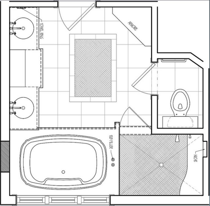 we can see in this next picture that we are looking at the floorplan of a bathroom in this floorplan it is easy to find the toilet and we all know what
