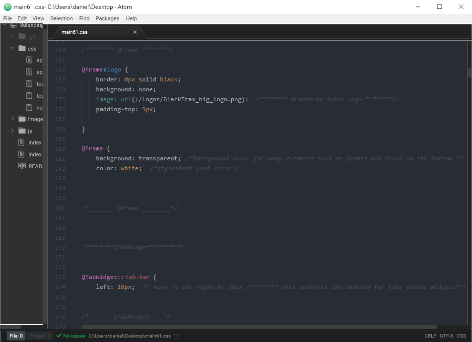 code screenshot. Front-end code recreated with comments using the QSS (markup styling language for QT framework)