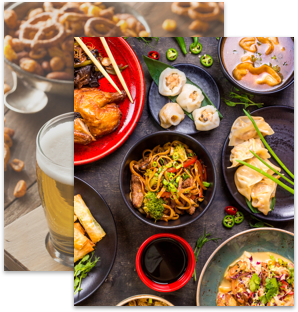 Two overlapping images of asian foods and another image of beer with pretzels