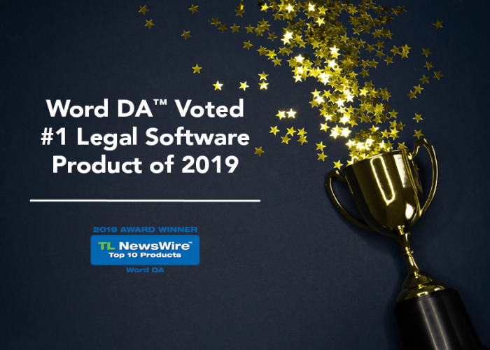 Graphic announcing that Infoware won Word DA's Legal Software Product of the Year