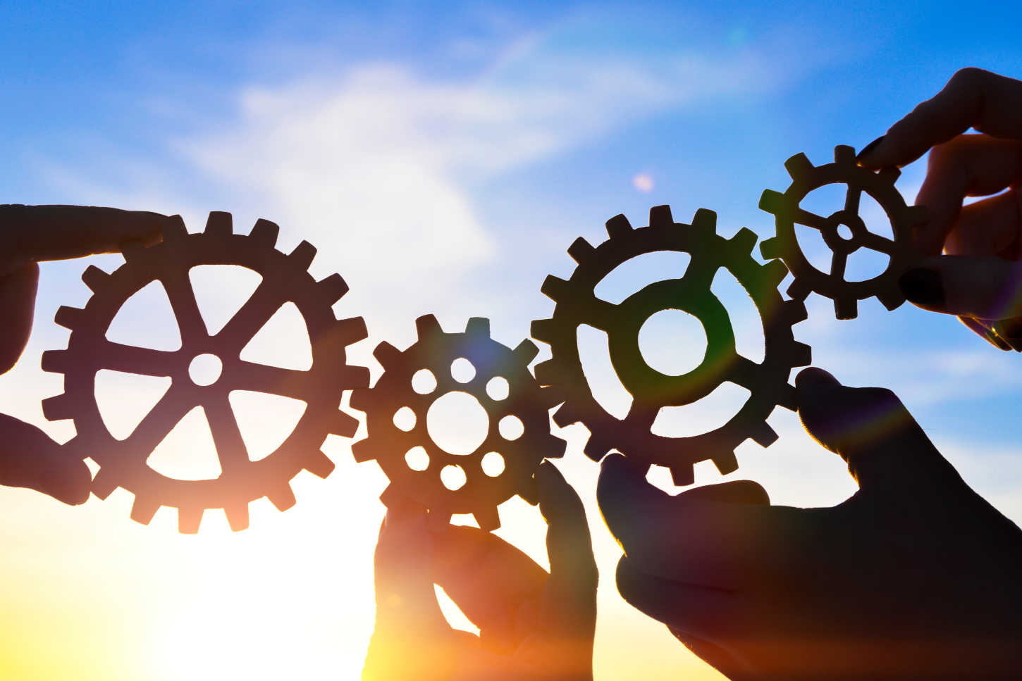 Photo of gears held towards the sky