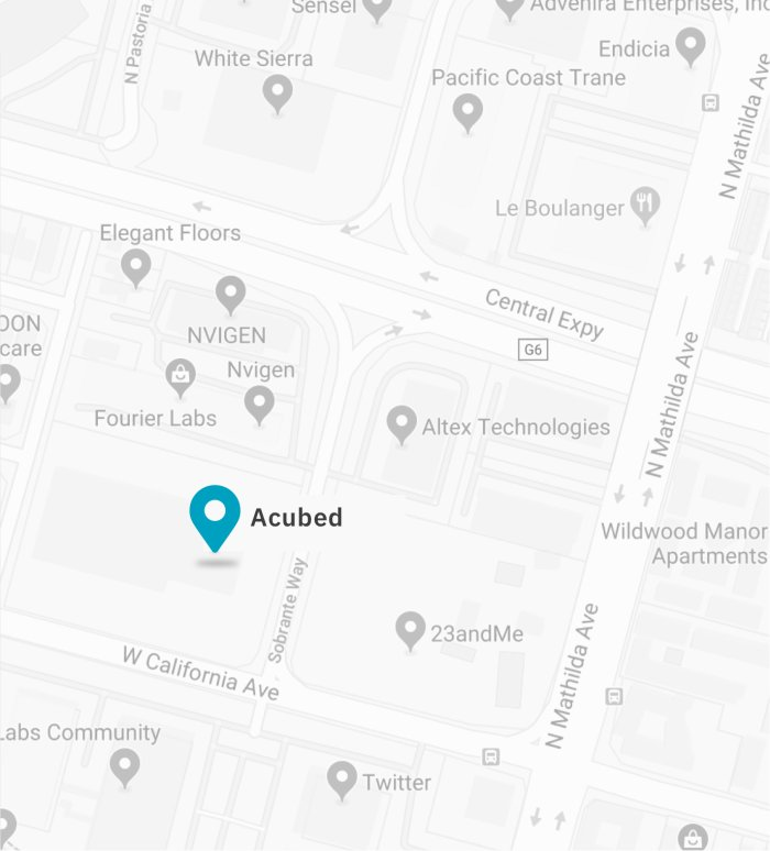 Map of Acubed Office in Sunnyvale