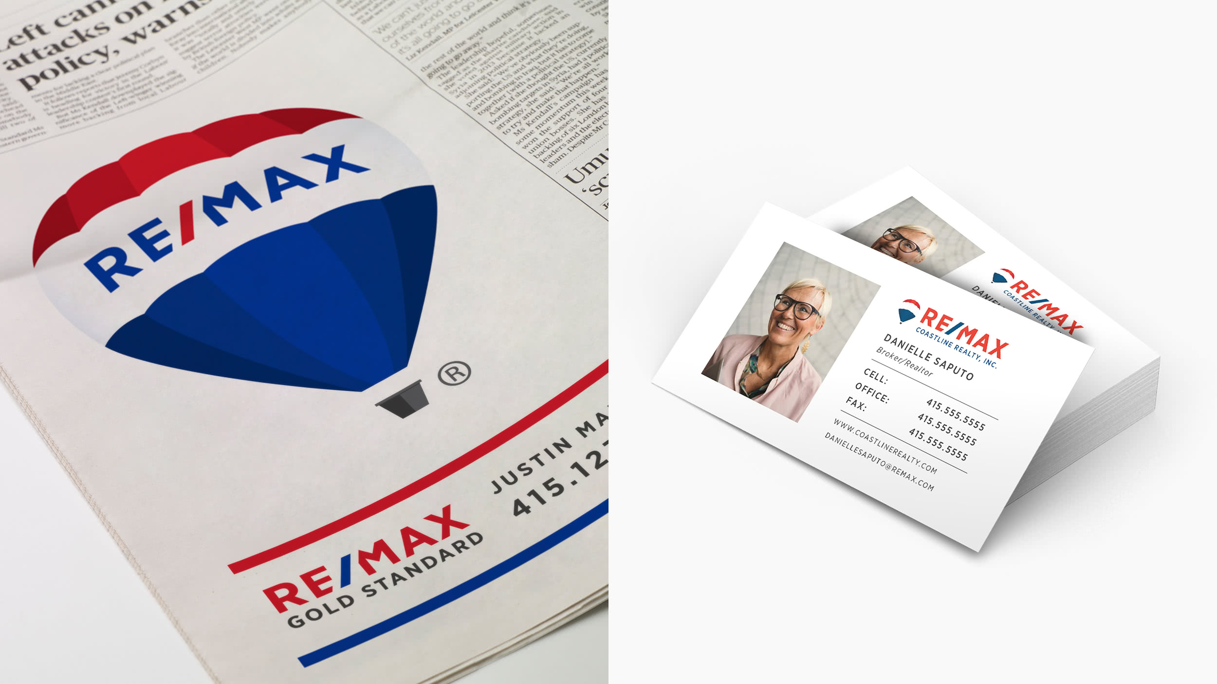 A RE/MAX Newspaper ad and a stack of RE/MAX business cards