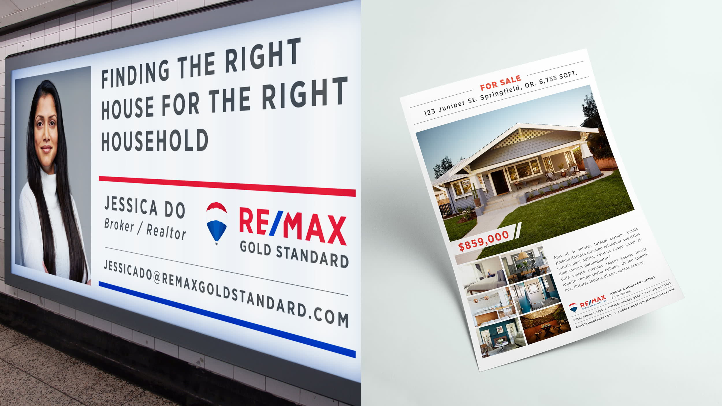 "A RE/MAX agent subway ad and a RE/MAX ""For Sale"" flyer"