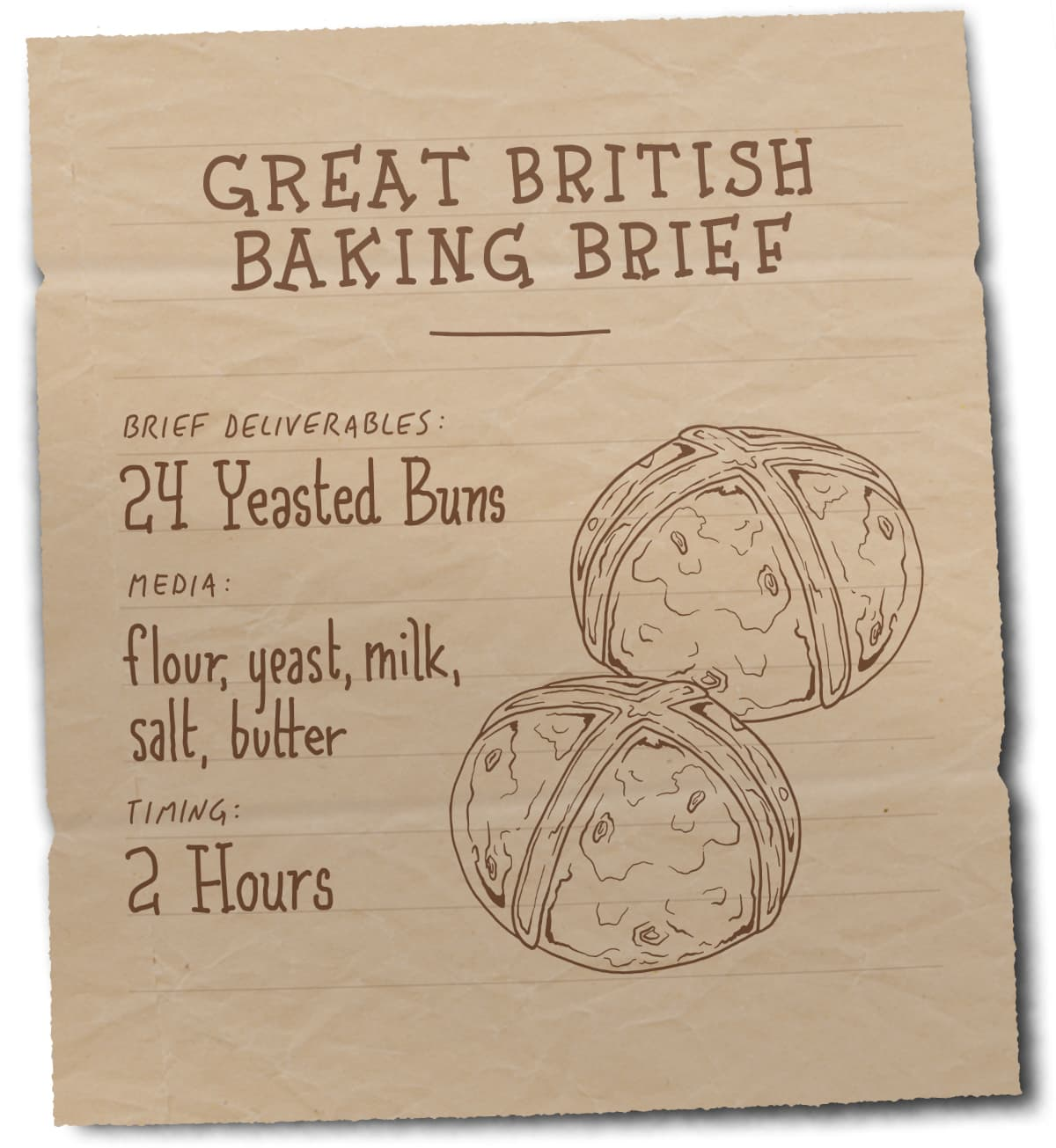 An image of a brief with an illustration of buns. Text: Brief - 12 Yeasted Buns. Ingredients – Flour, Yeast, Milk, Salt, Butter