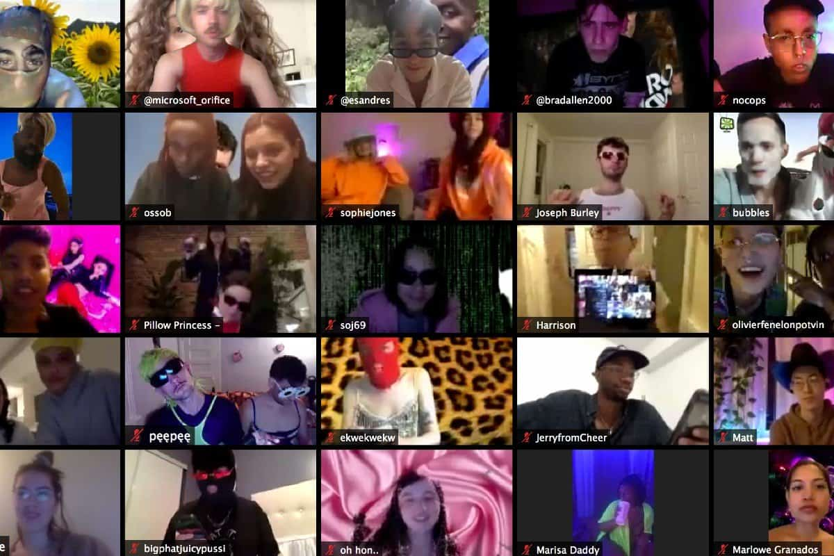 Video Chat grid of Club Quarantee attendees