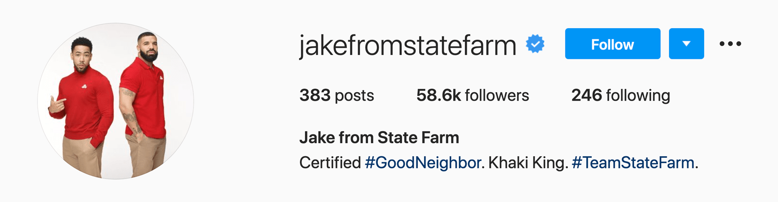 Jake from State Farm's Instagram profile header
