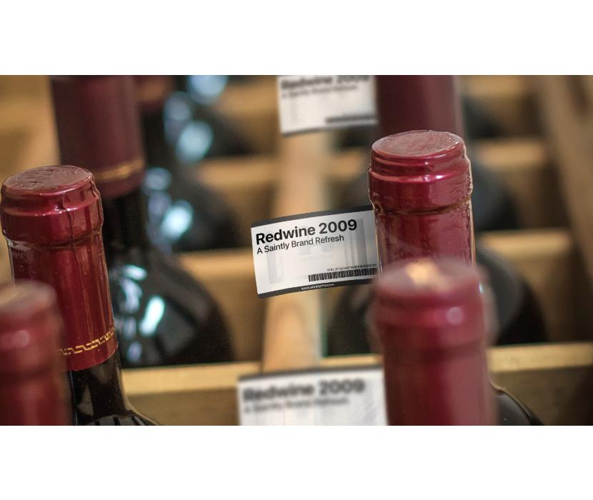 RFID Flag Tag on Wine Bottle