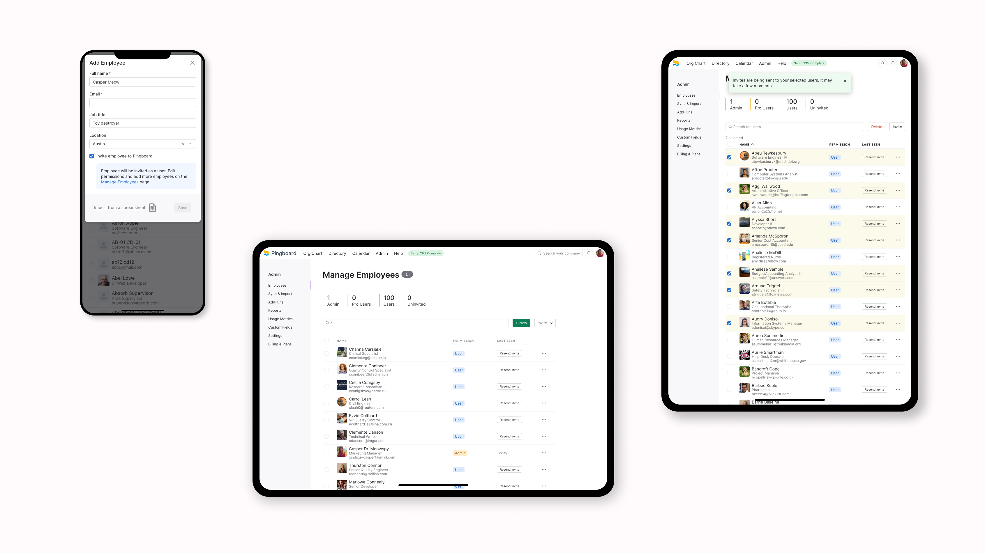 devices showing different screenshots of project Employees Management