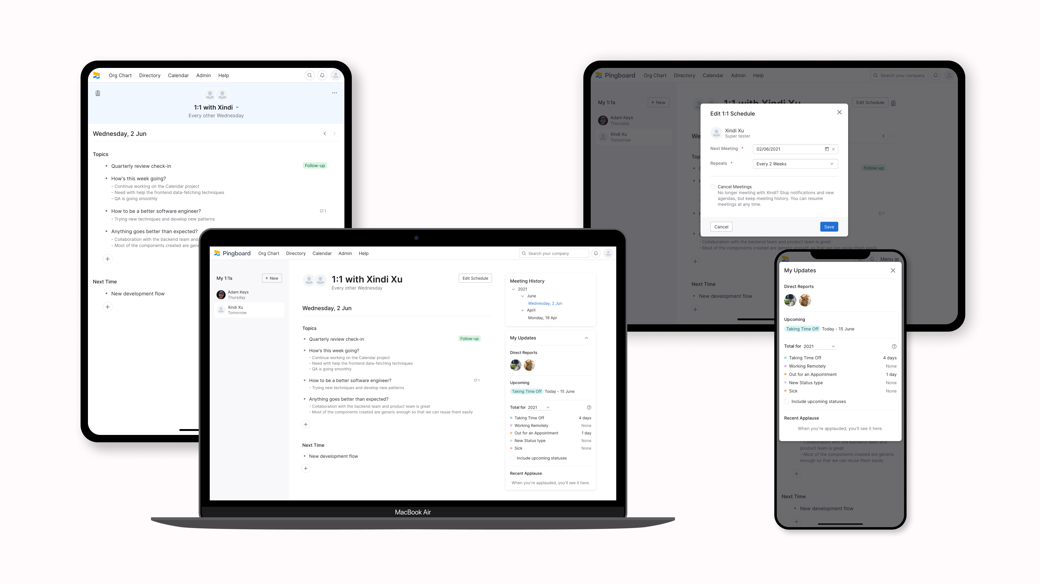devices showing different screenshots of project Meetings