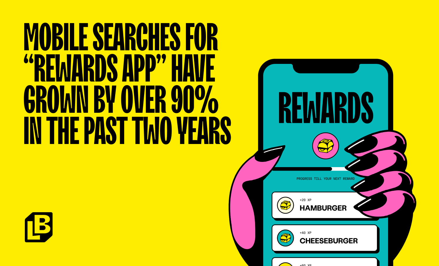 """MOBILE SEARCHES FOR """"REWARDS APP"""" HAVE GROWN BY OVER 90% in the past two years"""