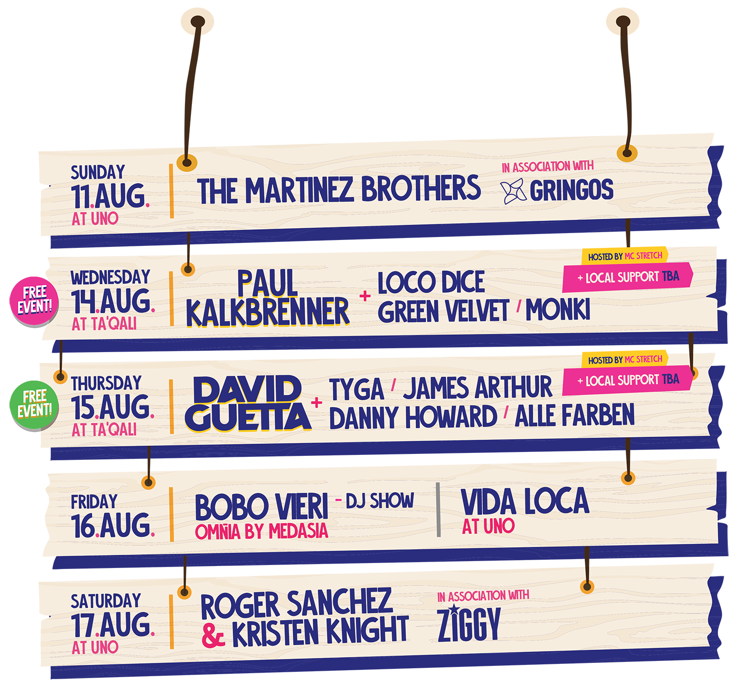A summary of the lineup at  Summer Daze, Malta Music Festival 2019