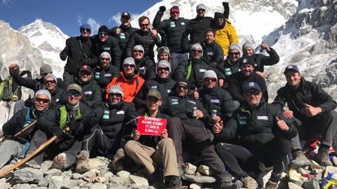 Group shot from the Mark Hughes Foundation Everest trek 2017