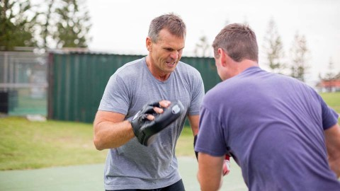 Paul Harragon boxing during winter to keep fit