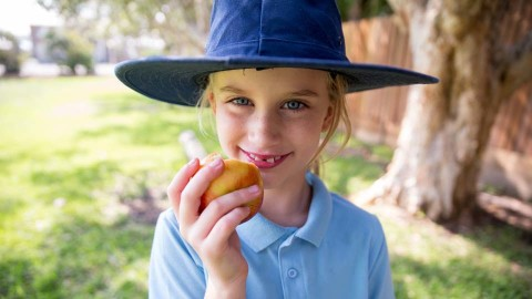 young primary student eating an apple from her healthy lunchbox at recess
