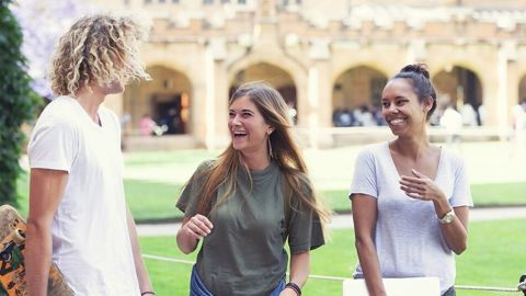 Three young international students discussing how they chose their Australian university