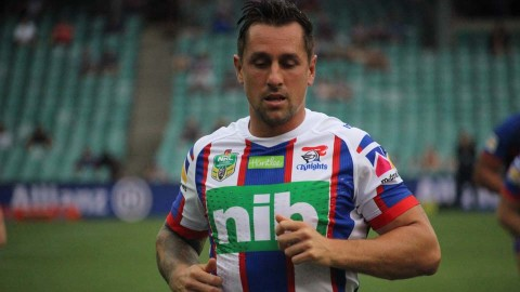 Mitchell Pearce back training with the Newcastle Knights after an injury
