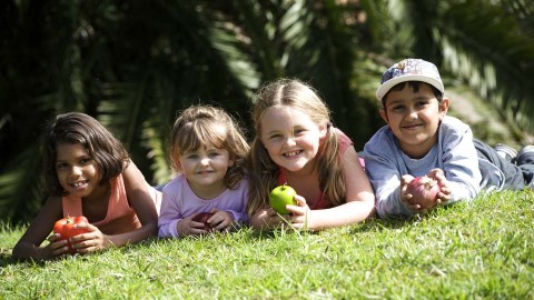 preschool children eating health lunchbox swaps during their recess