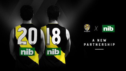 nib logo on the back of Richmond Tigers jersey