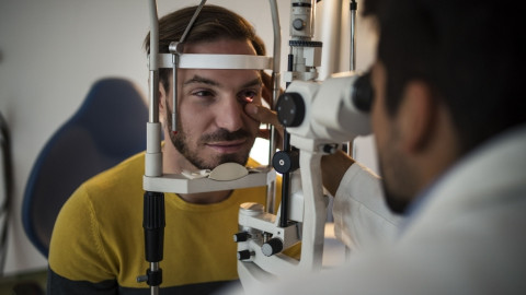 A man getting an eye examination.