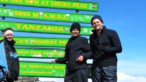 Paul and his family hiking up Mount Kilimanjaro