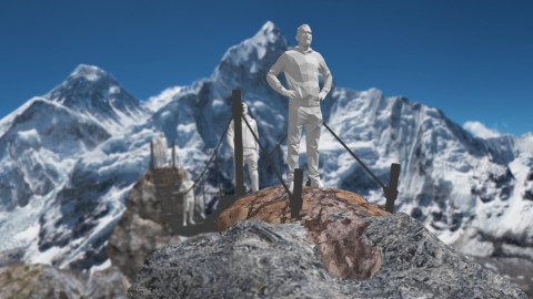 Animated man on Everest feeling the impacts on his health