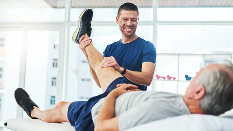 Man attending a physio appointment