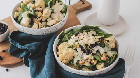 Warm roasted cauliflower salad