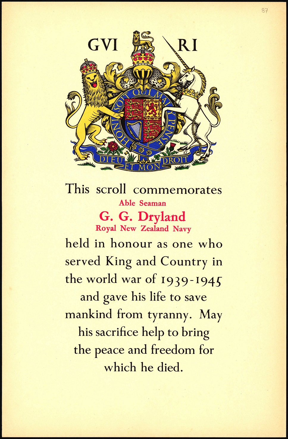 Yellow paper certificate with the Royal Coat of Arms and some text