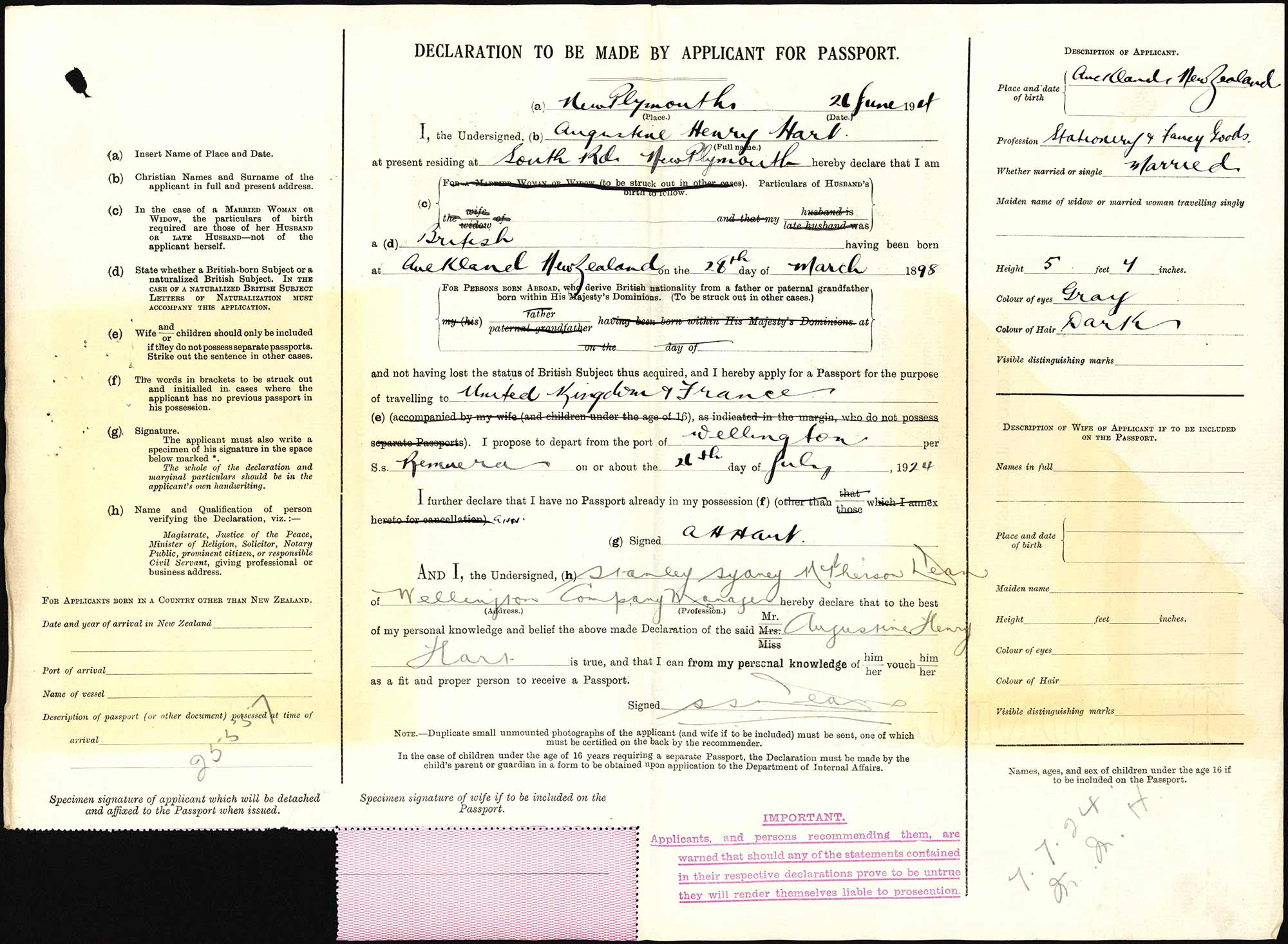 Augustine Henry Hart passport application