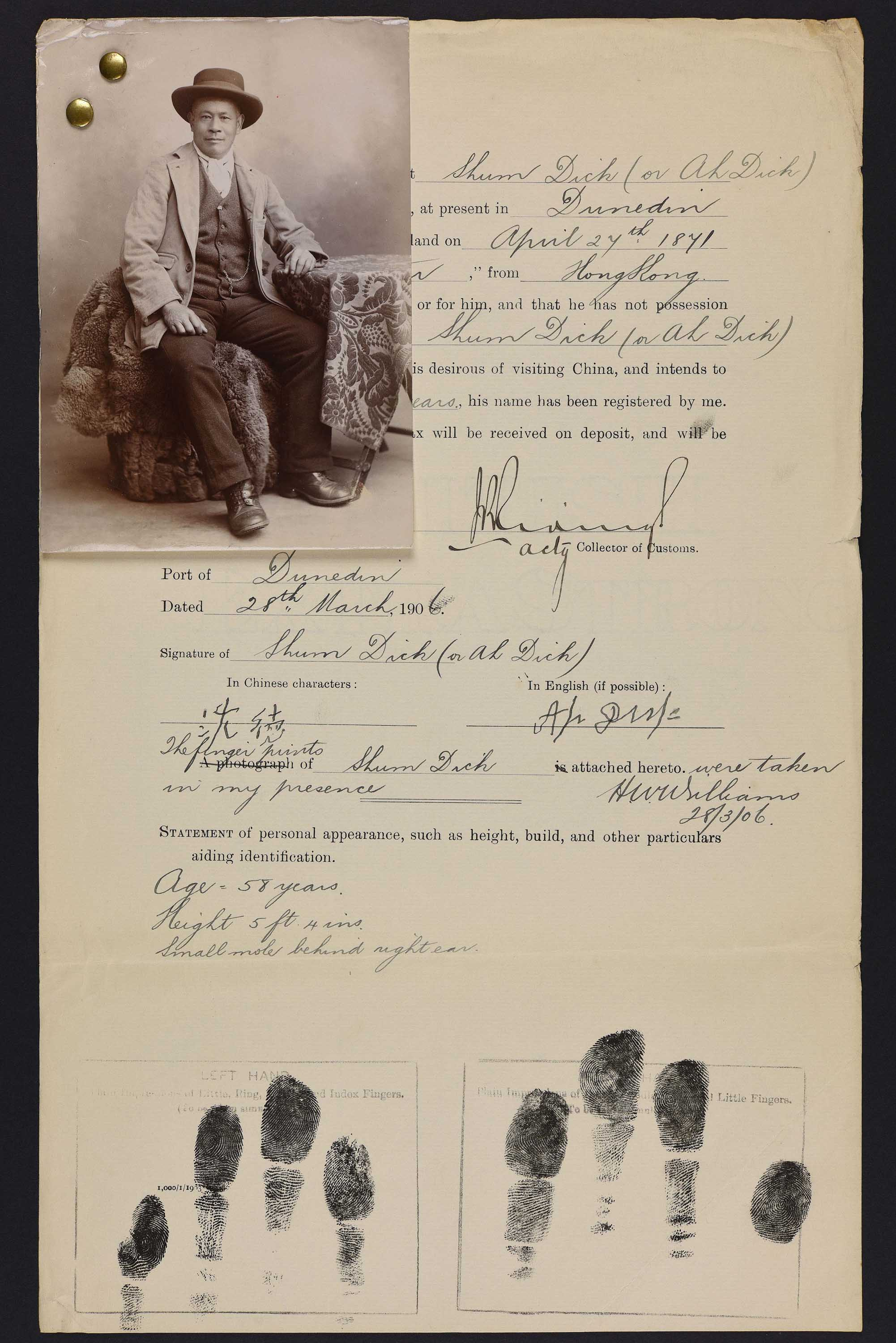 Sepia photo of a seated Chinese man attached to his immigration record
